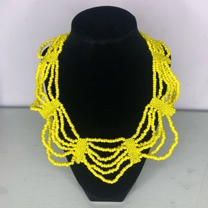 Yellow Bead Collar Statement Necklace